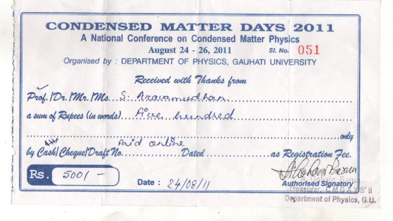 CMDAYS2011 Gauhati University – Receiving Receipt